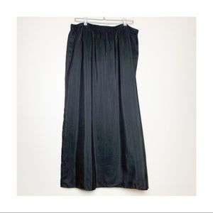 Diane Gilman Black Silk Lined Wrap Skirt 1X